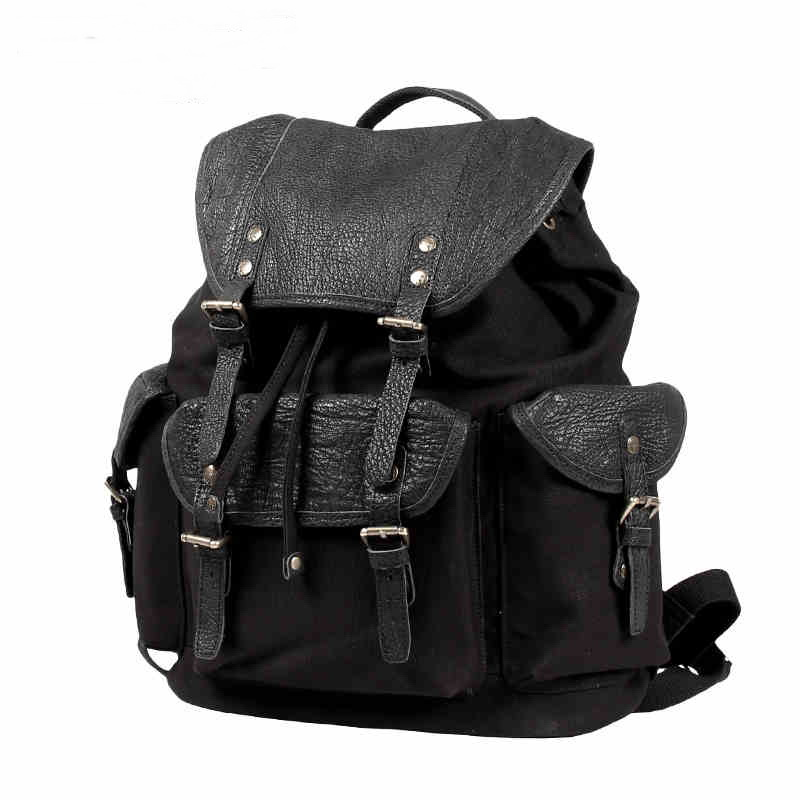 leather flap canvas rucksack backpack  f1ff4320cbfce