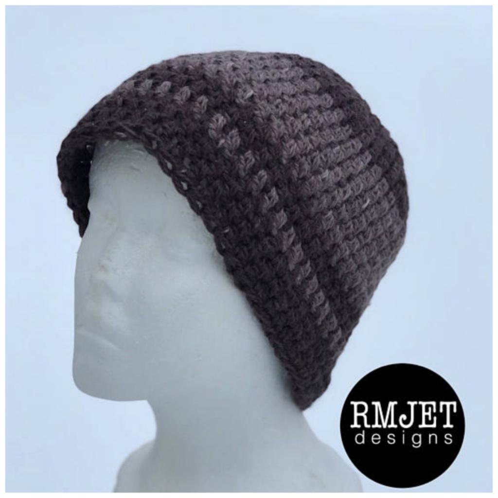 Handmade hand-dyed HEMP crochet beanie hat   Shades of Brown ... a68ef459d95