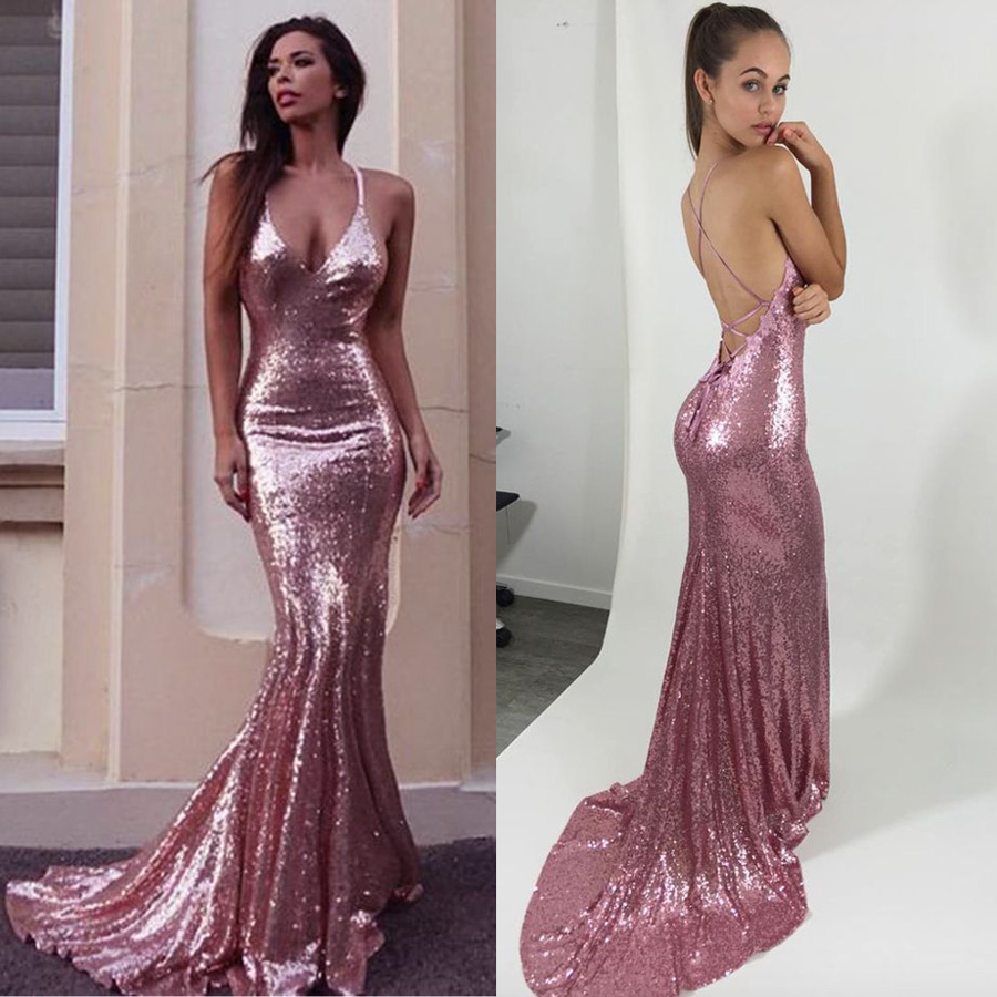 986ac3ffd03 Sexy Mermaid Spaghetti Straps Backless Long Pink Sequin Prom Evening Dress  on Storenvy