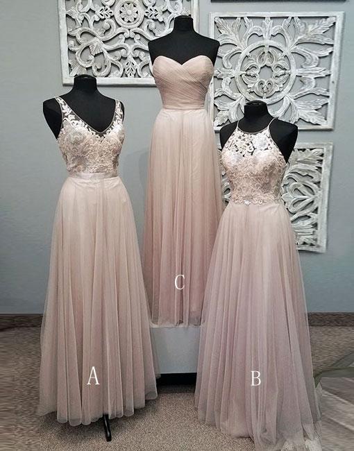 2c1a92934681 Mismatched Pale Blush Pink Lace Custom Bridesmaid Dresses, Cheap Unique  Tulle Long Bridesmaid Gown,