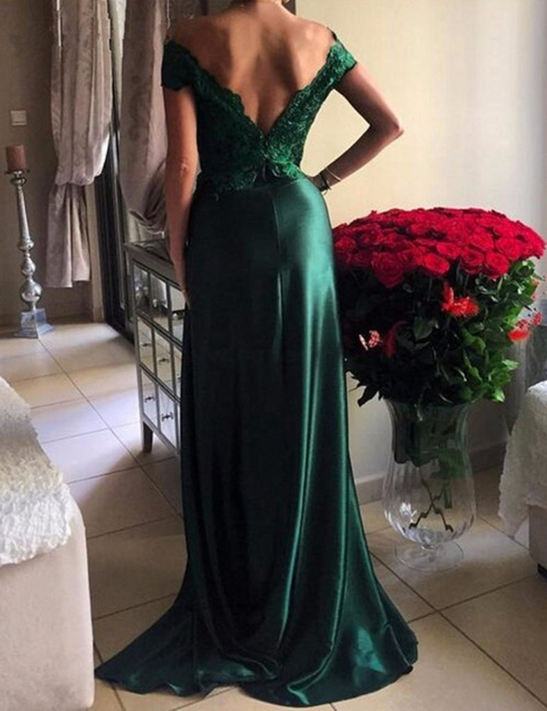 Off the Shoulder Emerald Green Formal Occasion Evening Prom Dress ...