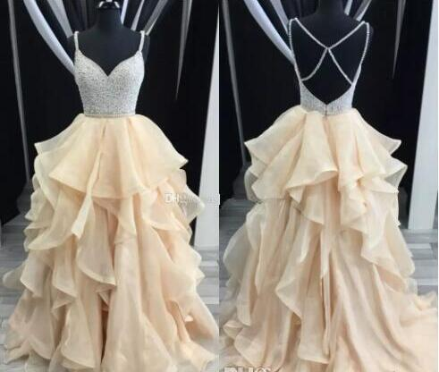 8f96d45199f Champagne Organza Ball Gown Prom Dresses Spaghetti Straps Beading Backless Plus  Size Quinceanera Dresses Sweet 16