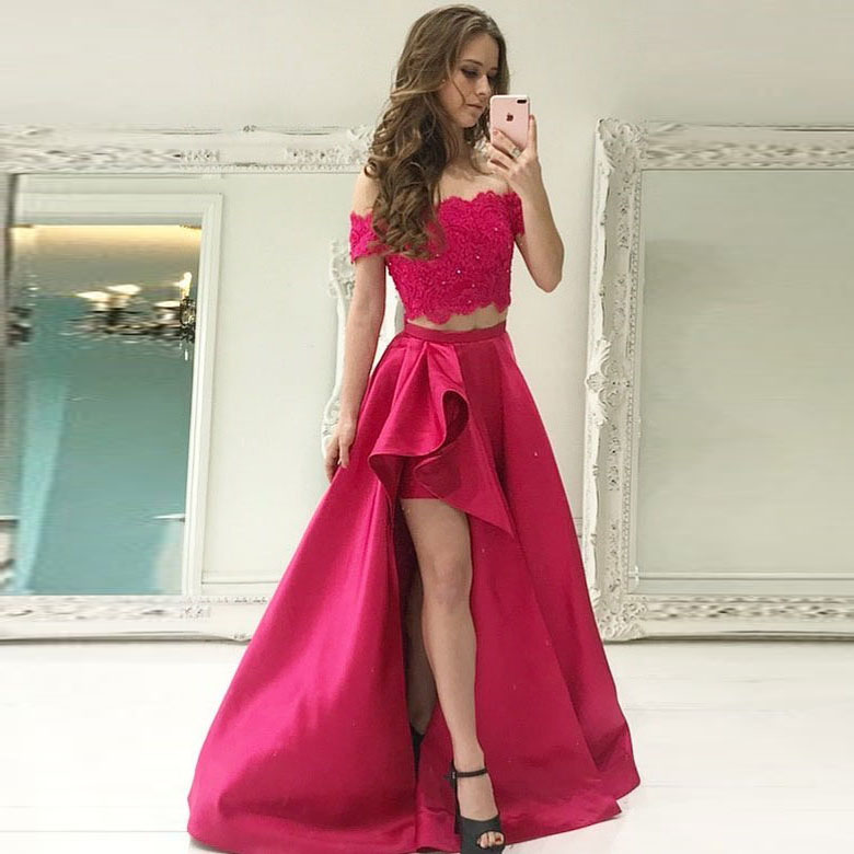 Off The Shoulder Prom Dress Two Piece Formal Evening Gown High Slit ...