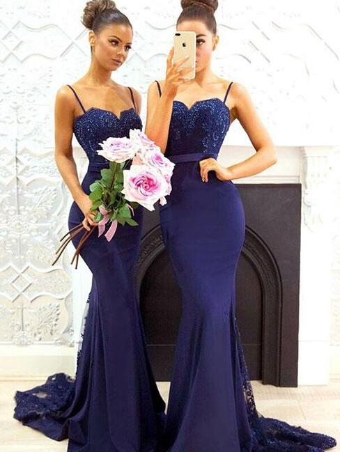 Elegant Prom Dress Royal Blue Bridesmaid