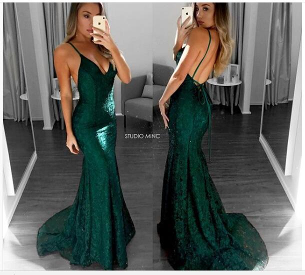 Mermaid Emerald Green Prom Dress Sexy V Neck Prom Dresses Lace