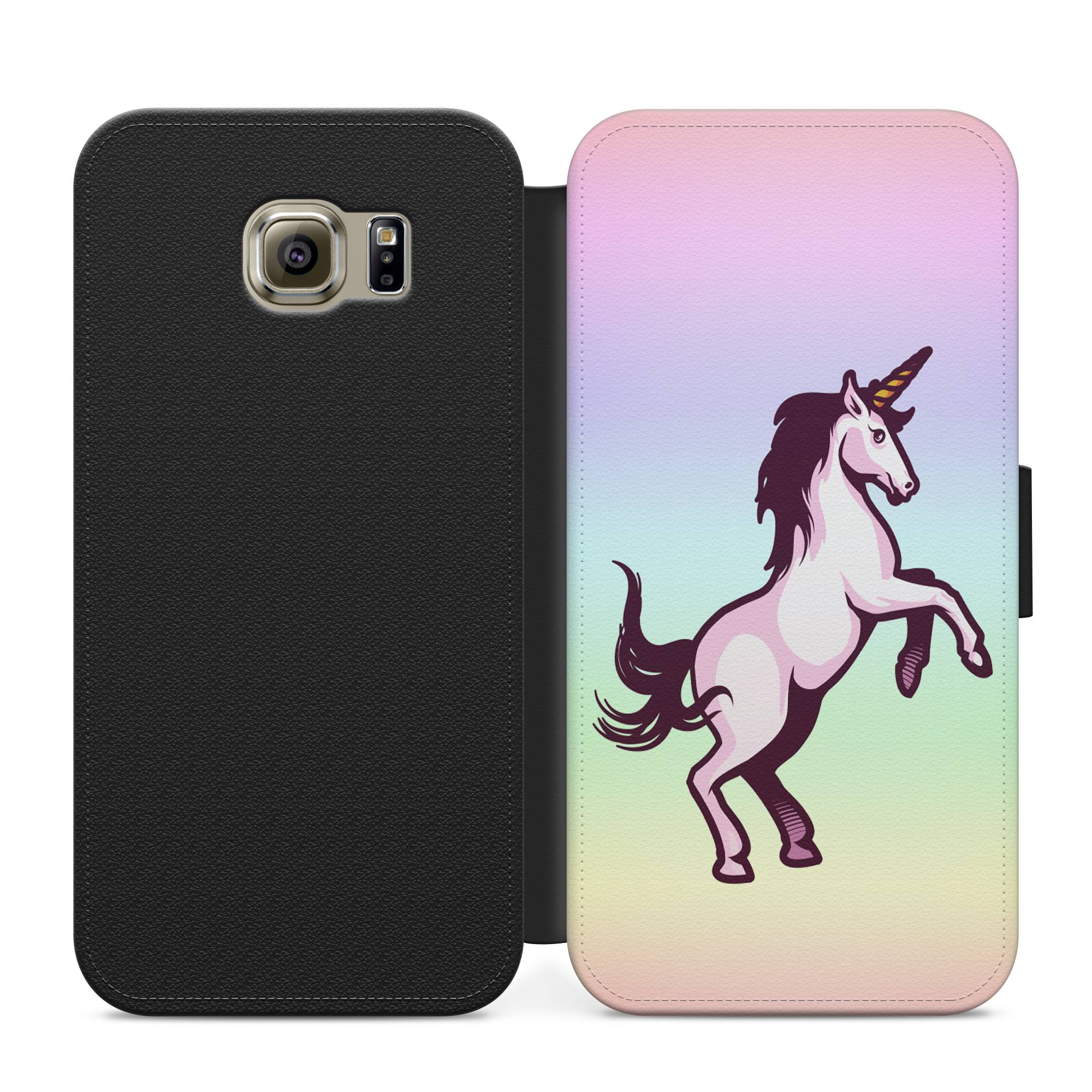 newest a1ebe 55bfc Bright colourful Unicorn flip case for iphone 4/5/6/7/8 Samsung  S3/S4/S5/S6/S7/S8