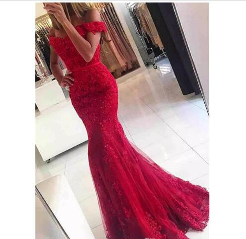2018 Chic Prom Dress Off the Shoulder Red Lace Applique Mermaid Prom ...