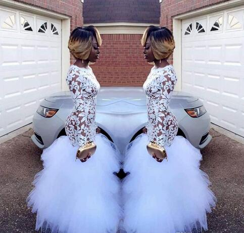 2018 African White Mermaid Lace Prom Dresses For Black Girls Long