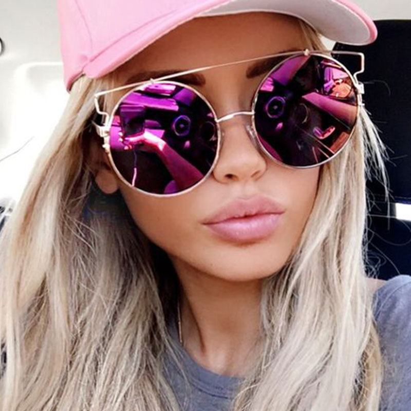 453ef28c1 ... Women Oversized Round Mirror Sunglasses Metal Frame UV400 Protection in  5 Colors - Thumbnail 3
