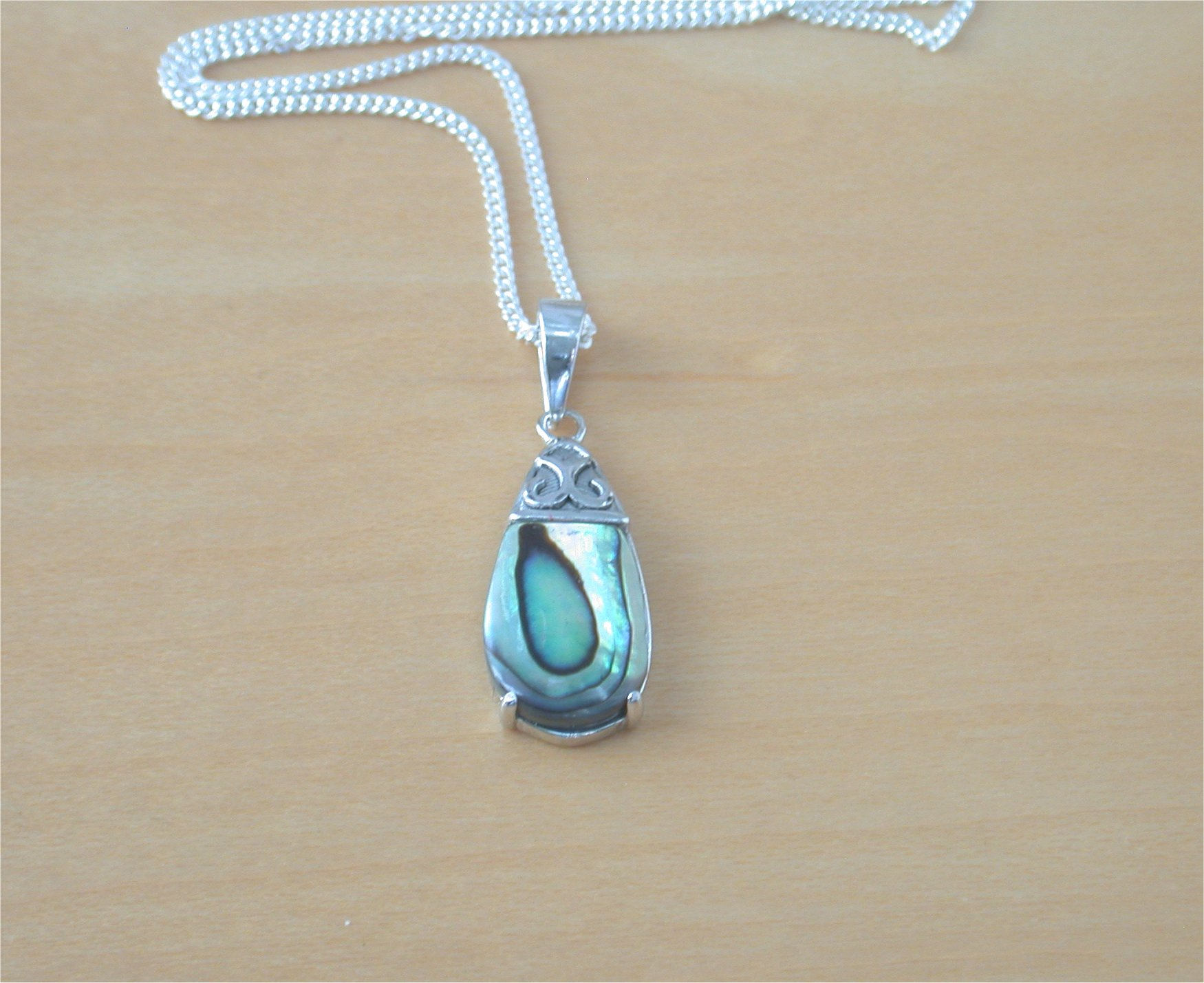 sterling abalone necklace products paua inlay small silver pendant butterfly shell long