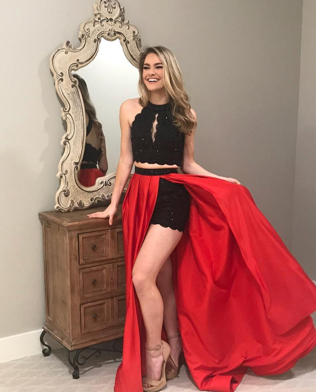 Red and Black Prom Dress