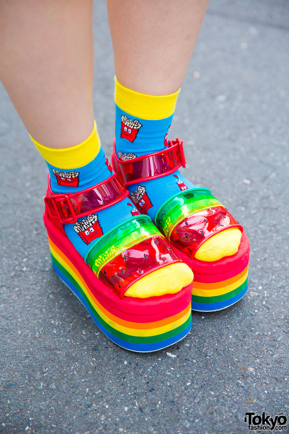 Candy Stripper Authentic Rainbow Platforms Shoes Sandals on Storenvy