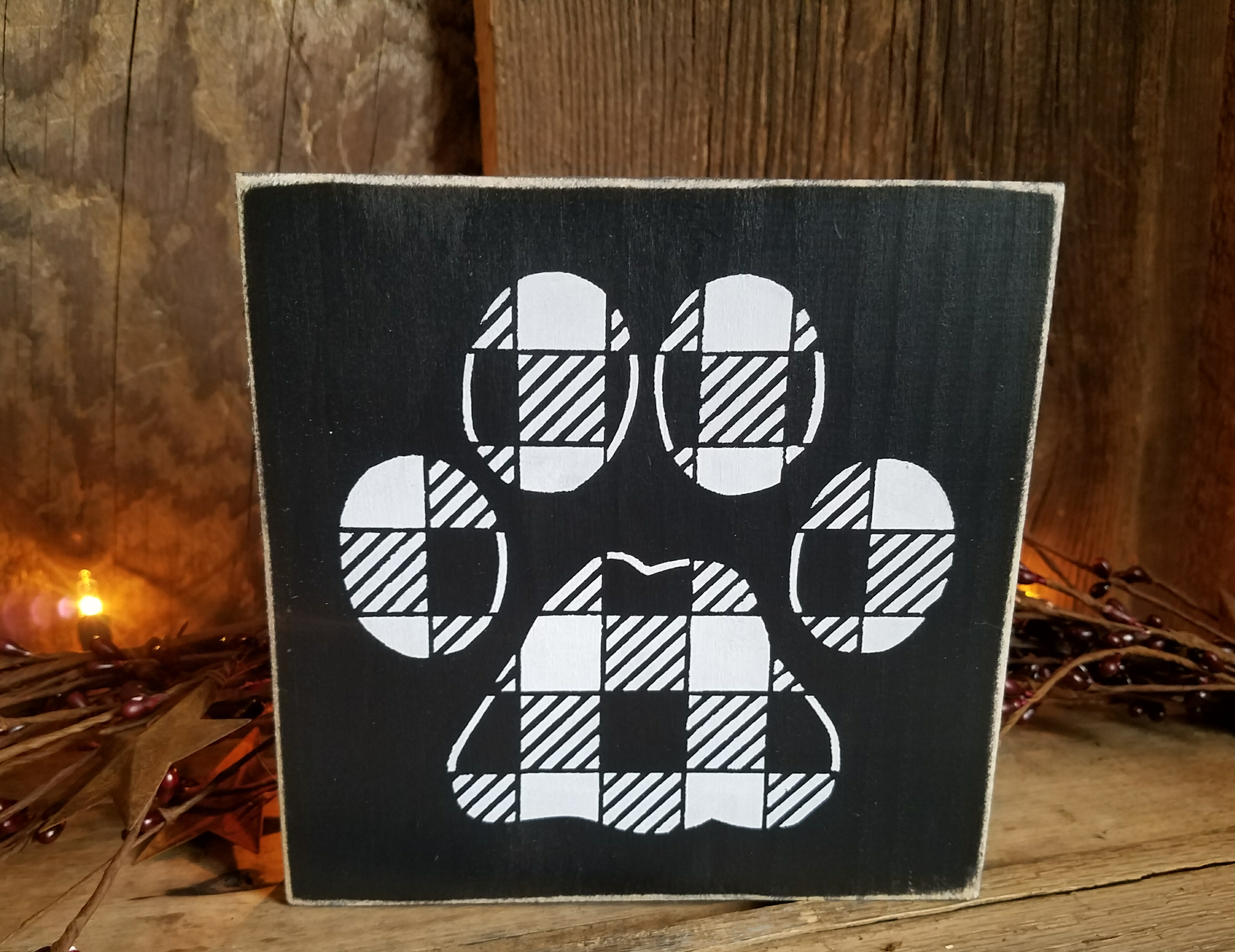 77acd52c Buffalo plaid paw print block sign from Little Blue Barn
