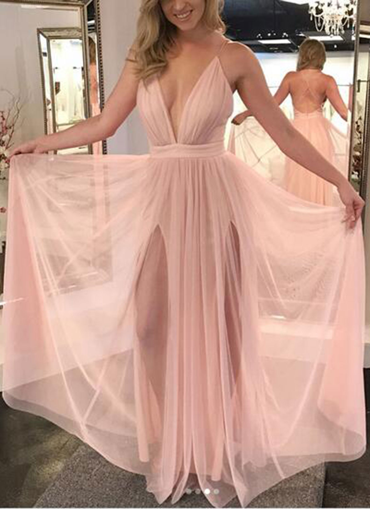 1fa8238b97 Deep V Neck Criss Cross Blush Pink Prom Dresses on Storenvy
