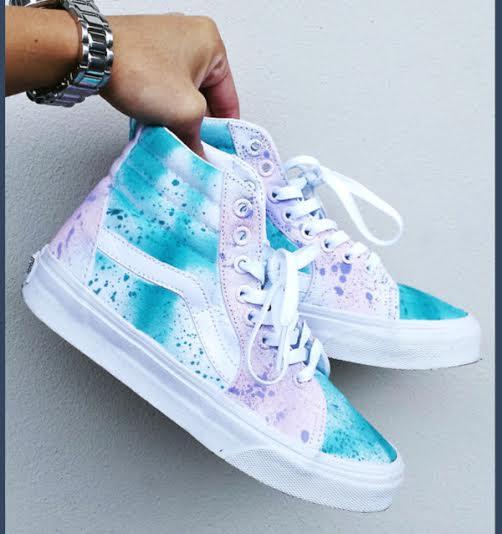 bfa87112f0f2 White Sea Blue & Lilac Splatter Vans SK8 Hi · SneakerSuperShop ...