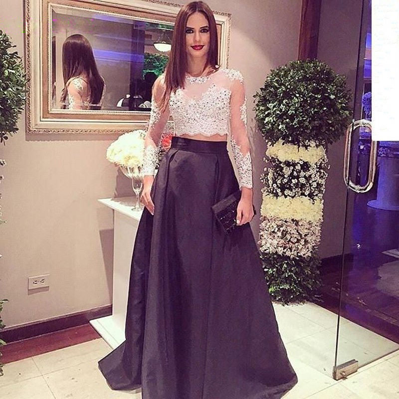 Long Formal Dress White And Black O Neckline Floor Length Two