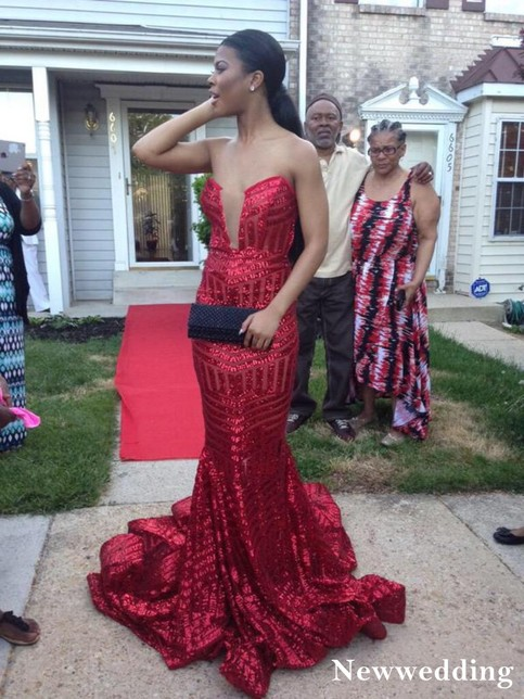 Red Stripe Sequined Prom Dresses Mermaid Evening Dress