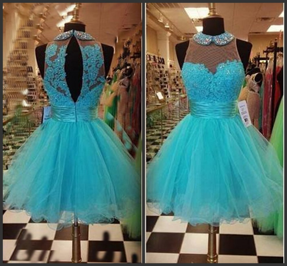 8daf8264b9 Short Dresses For Graduation Ball Gown O Neckline Appliqued Lace Beading  Short Formal Dresses Turquoise Cocktail
