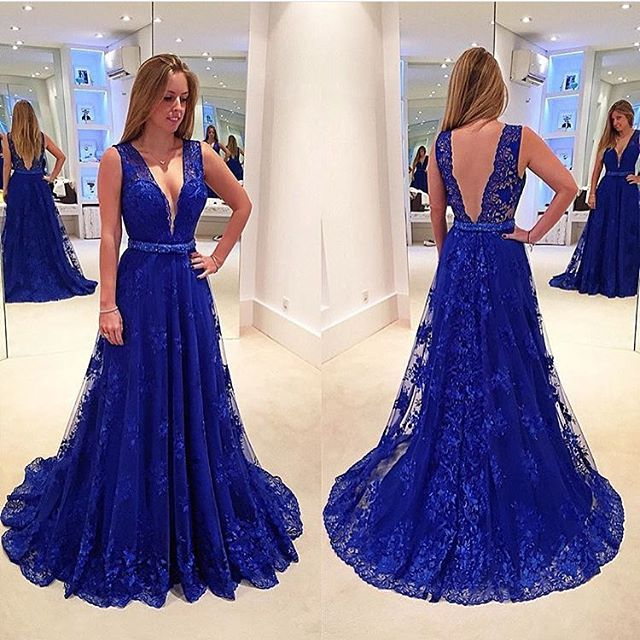 30a87d2b87 New Arrival Deep V Neck Royal Blue Lace Prom Dresses