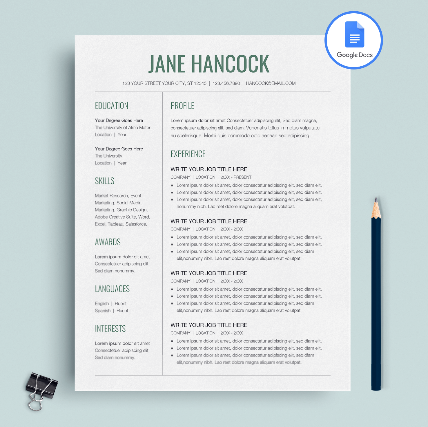 Professional Resume Template Google Docs CV Cover Letter