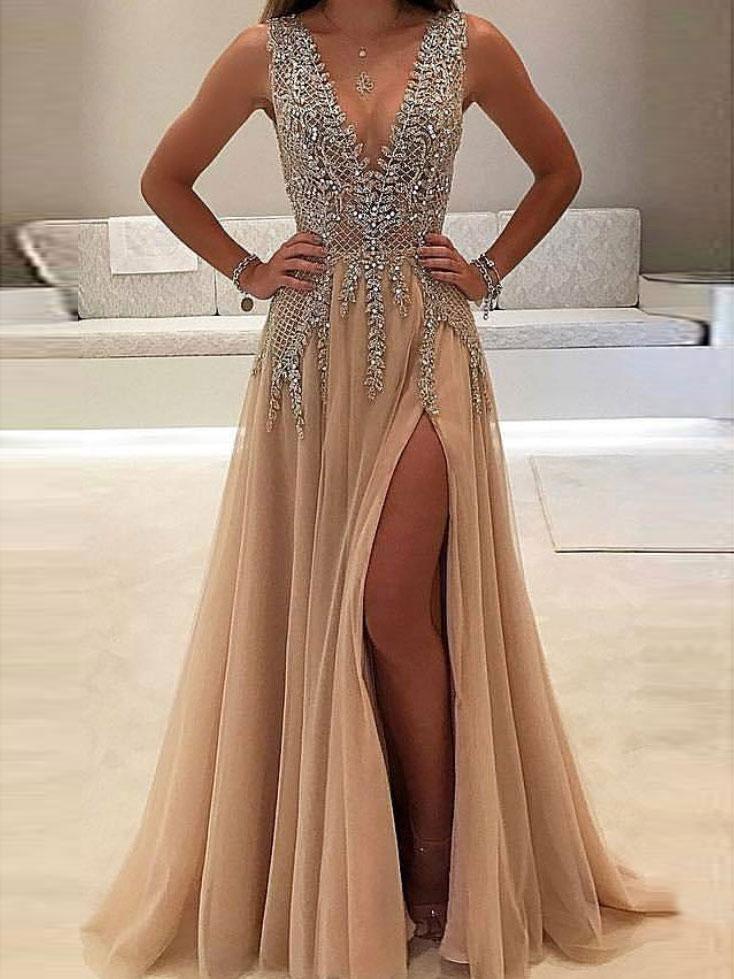 Long Beaded Nude V-Neck Prom Dress - PromGirl