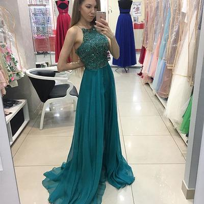 8e553f4a05971 New arrival halter green chiffon long prom evening dresses with beading