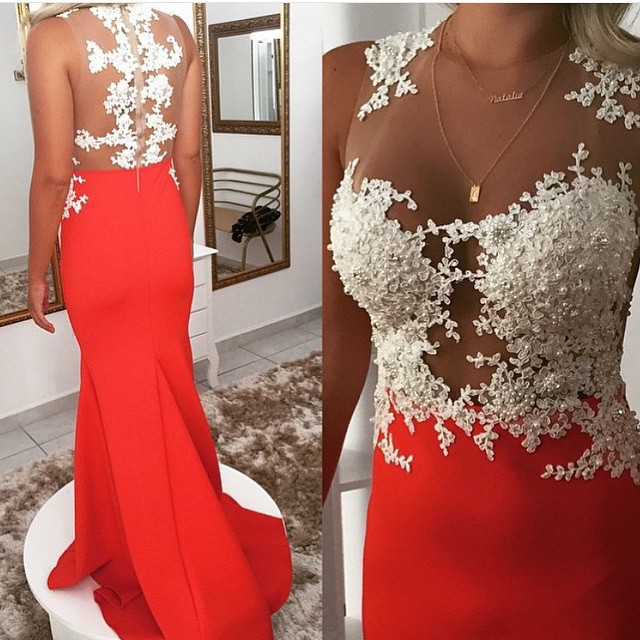 0bfff8b9ce Red Mermaid Evening Dress Illusion O Neckline Floor Length Appliques  African Prom Dress Beaded Lace Evening