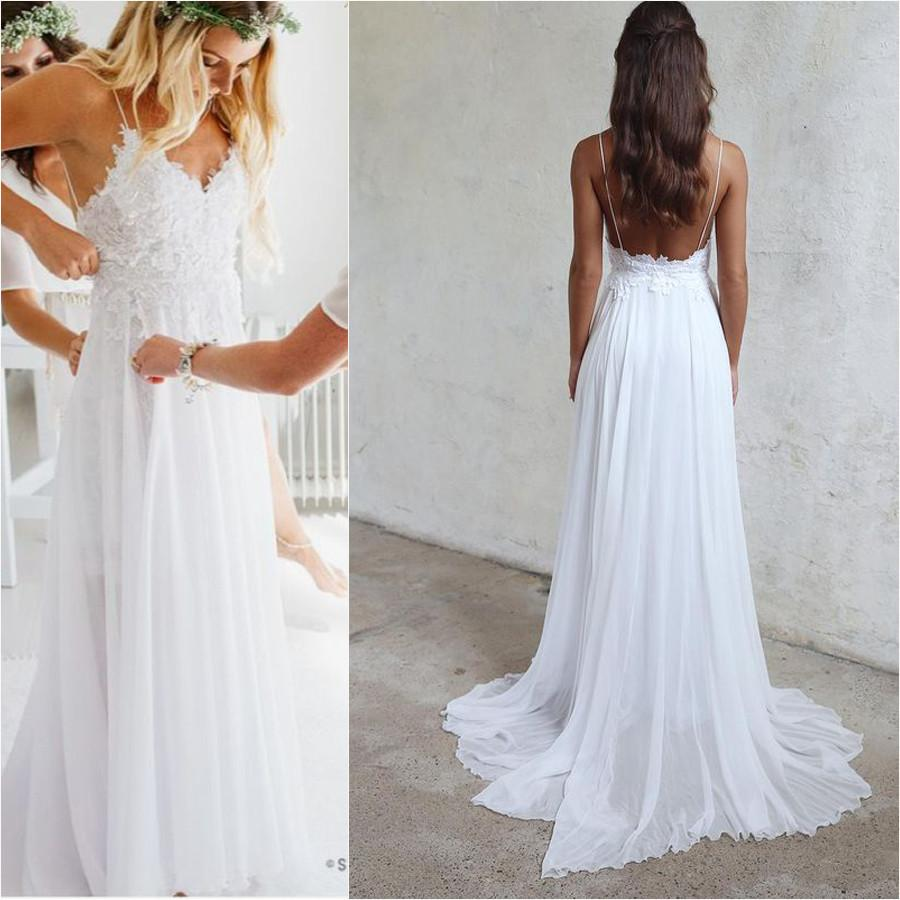 Wedding Dresess: Spaghetti Straps Boho Wedding Dresses,Lace Summer Beach