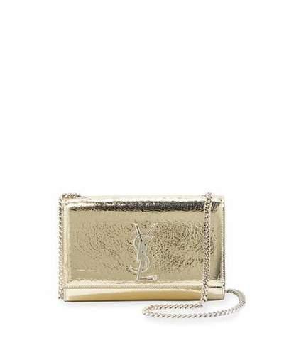 0370ecd9b52 Saint Laurent Kate Small Crackled Metallic Leather Crossbody Bag ...