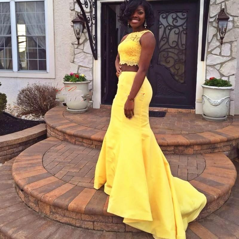 detailed look new authentic moderate price Custom 2 Piece Prom Dresses, Sleeveless Mermaid Yellow Prom Dress, African  Formal Dress Women from Hellerdress