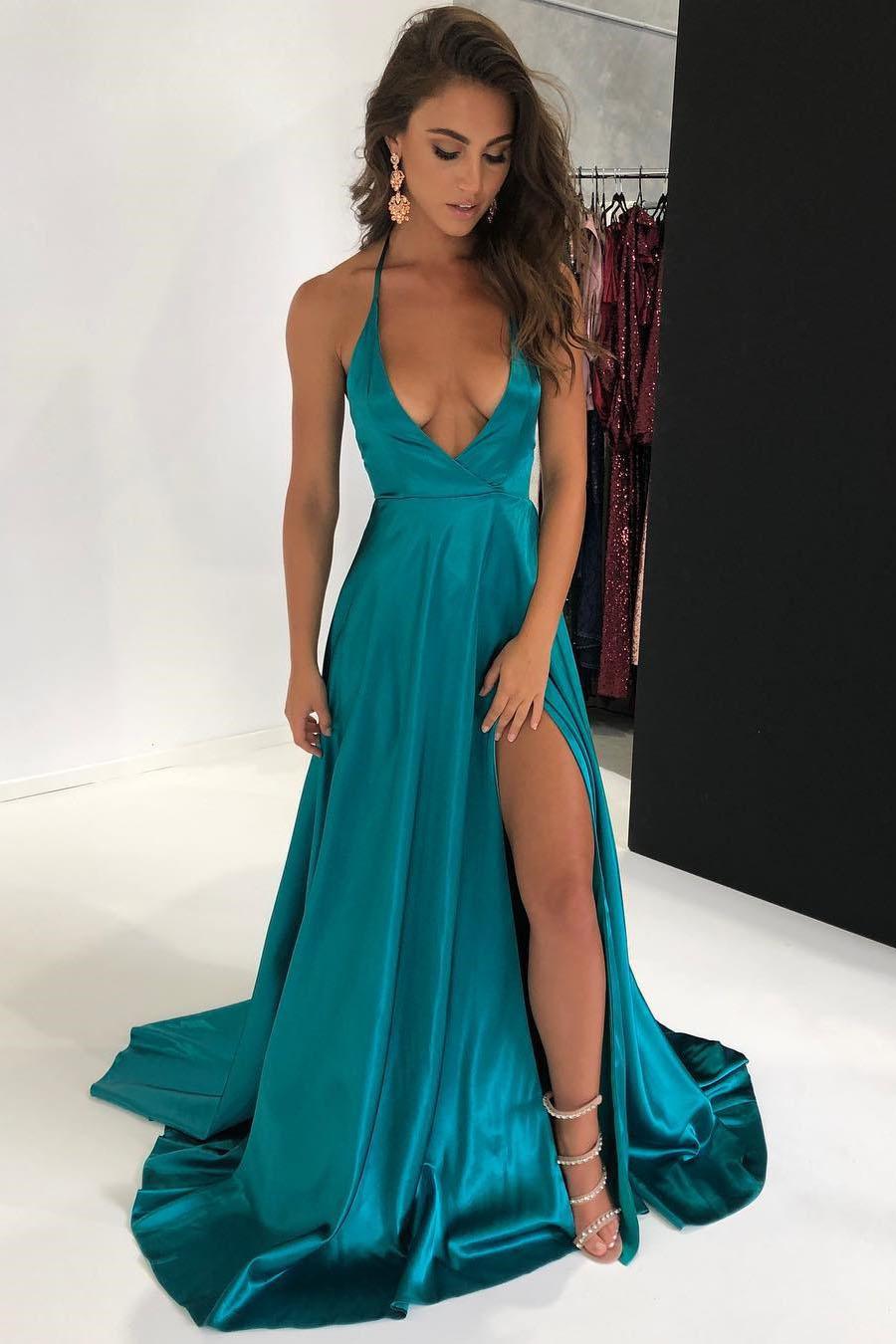 fa8c55ef353 Sexy Halter Deep V-Neck Split Long Prom Dress