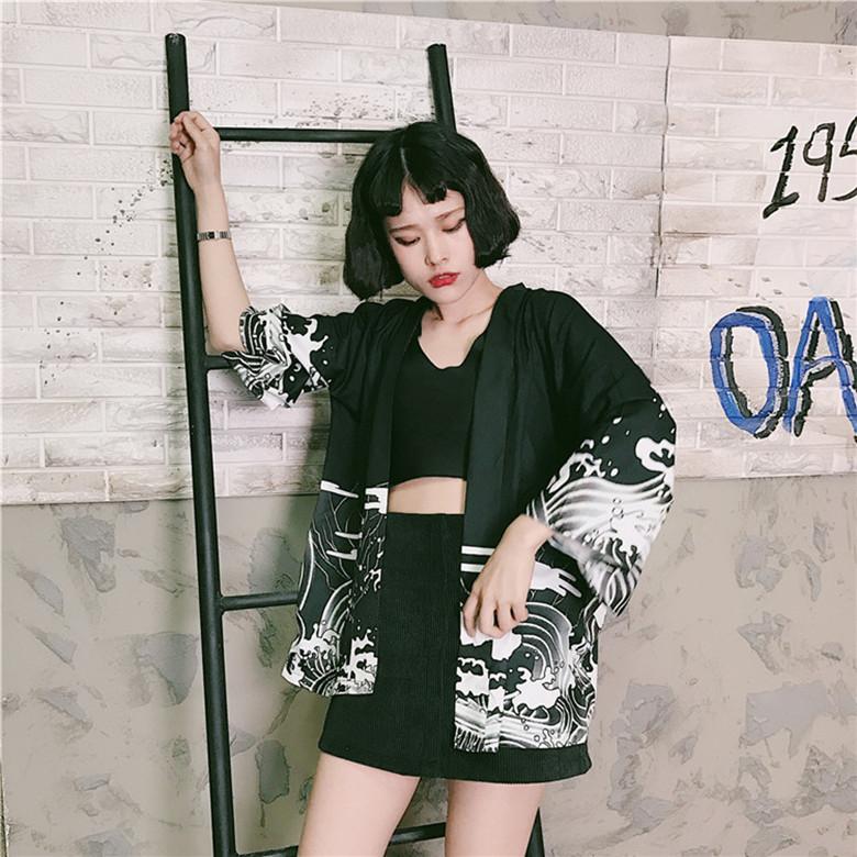 d783412c5b Japan Harajuku Kimono Coat Girl Dragon Great Wave Print Cosplay Thin  Outerwear on Storenvy