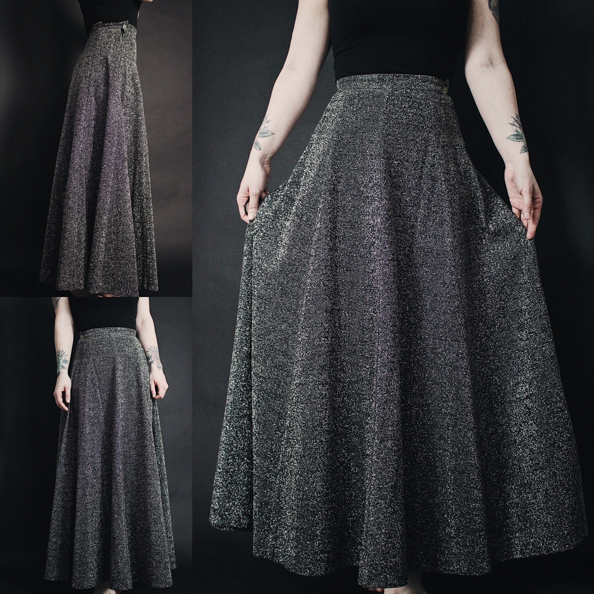fd37bd52d RESERVED FOR KYLIE - Vintage 90s Silver Glitter Metallic A-Line Maxi Skirt