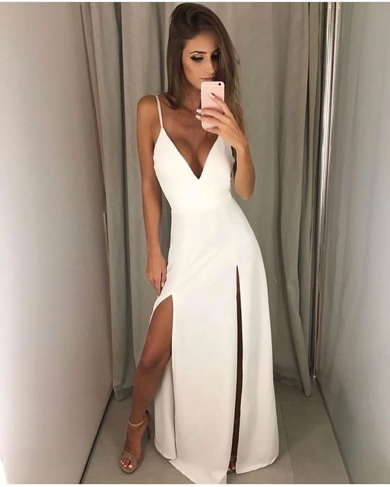 Sexy white formal dress