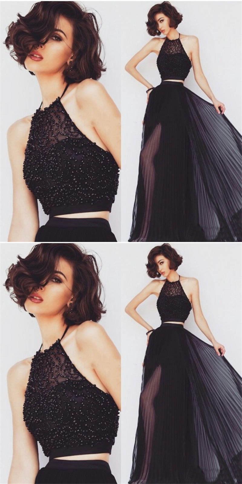 a49822f90e92 Black 2 Piece Prom Dresses