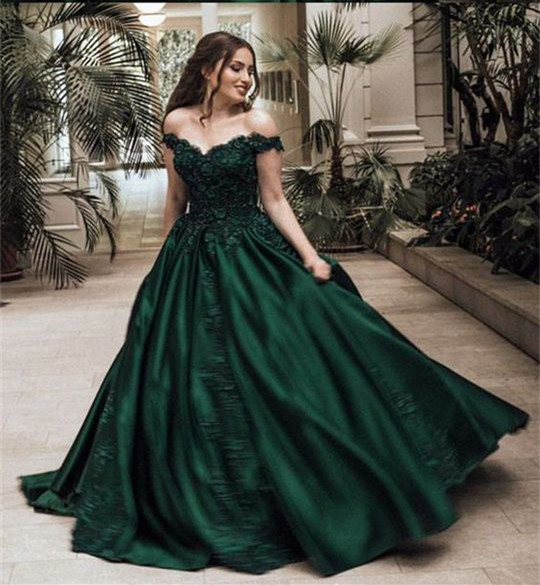 Off the Shoulder Dark Green Prom Dress with Appliques Lace on Storenvy a7263bc14