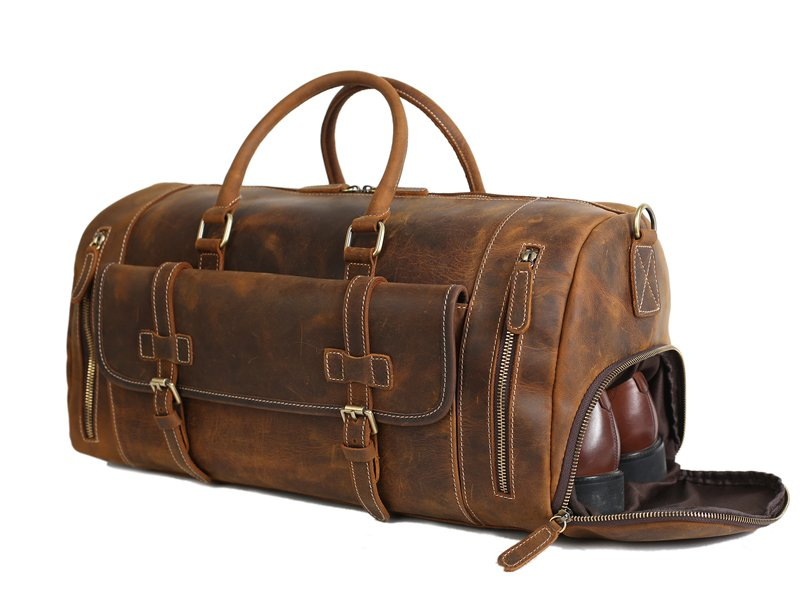 Handmade Vintage Brown Leather Duffle Bag with Shoes Compartment ... a0b99cc92935a