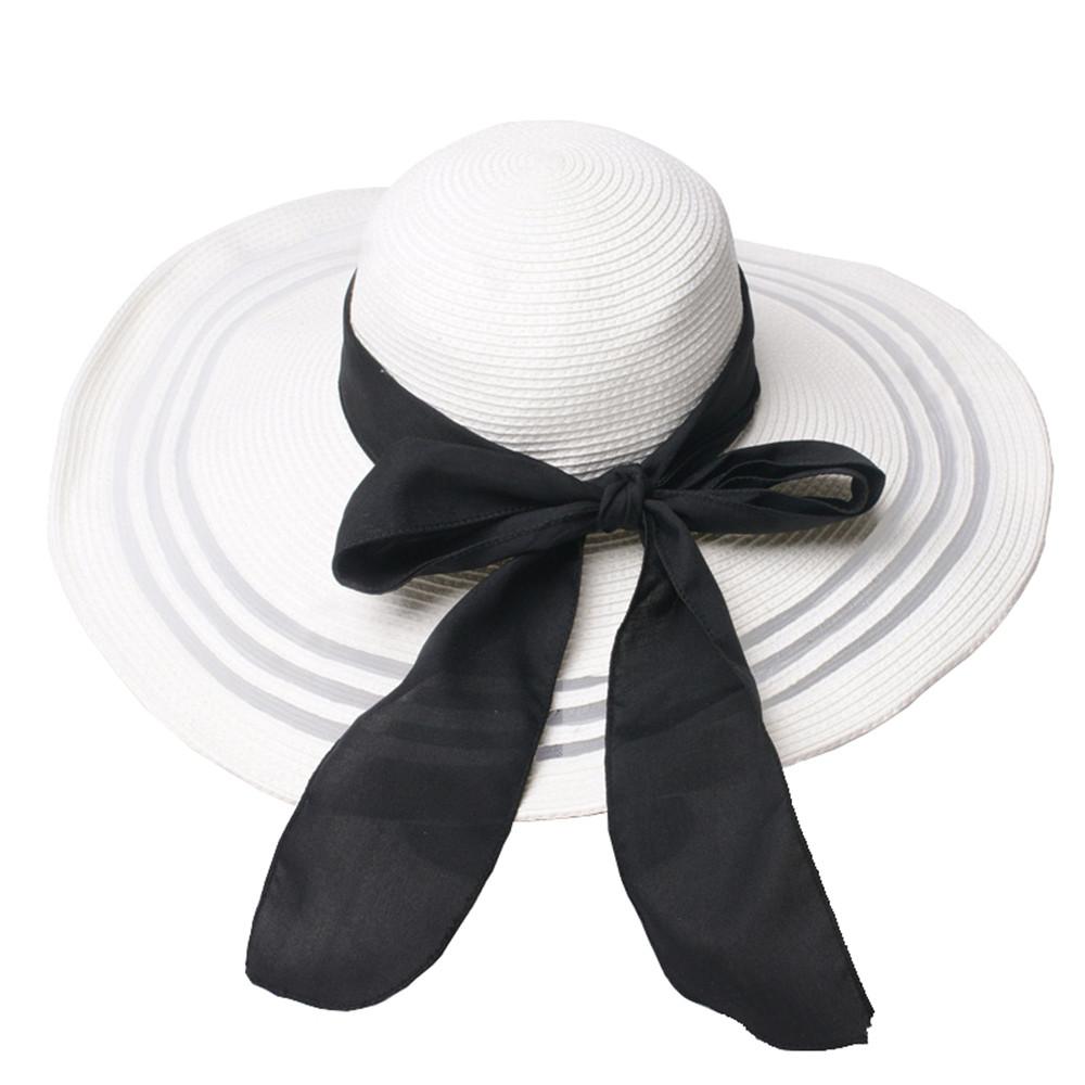 09c2db983 Womens Mesh Stitching Big Brim Beach Hat Straw Floppy Sunhade Hat with  Black Satin Bow