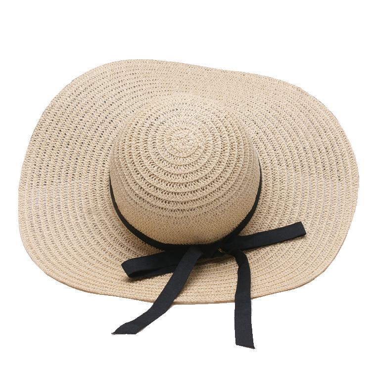 ... Womens Big Brim Floppy Straw Beach Hat Black Satin Bow Sunhade Hat for Summer  2018 ... 682f2eeb9a13
