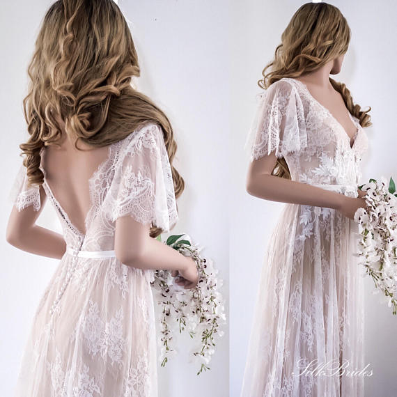 2018 Lace Wedding Dress/ Unique Wedding Dress/ Boho