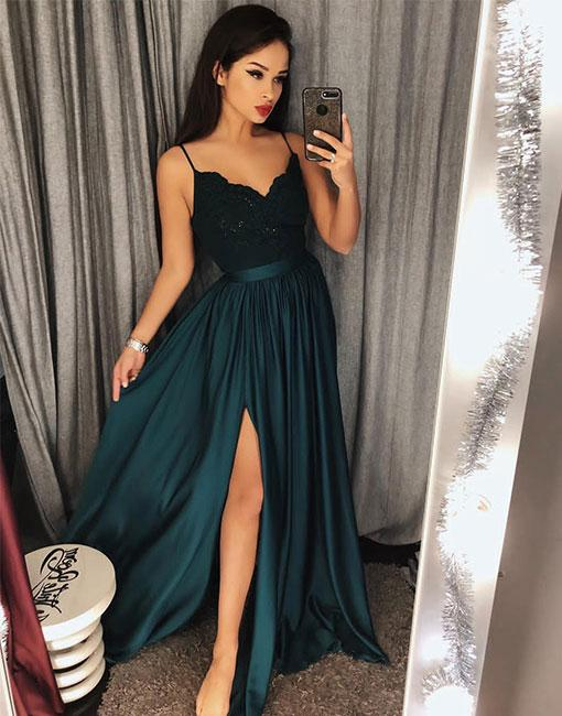 2018 Elegant Emerald Green Prom Dress Evening Dressv Neck With