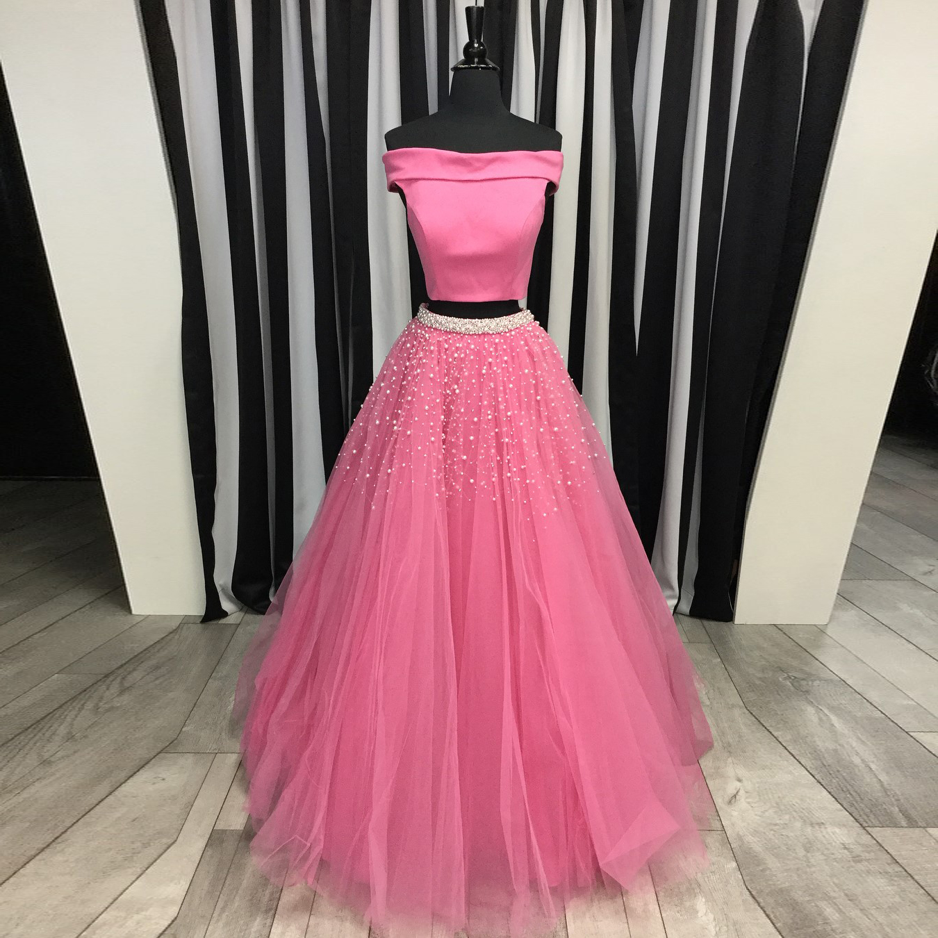 Off The Shoulder Two Piece Prom Dress Dusty Rose Long Formal Gown With Keyhole Back