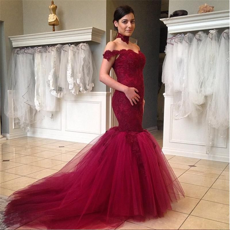 b0690b850aa71 Burgundy Mermaid Wedding Dress,Off the Shoulder Wedding Dress,Lace Bridal  Gowns