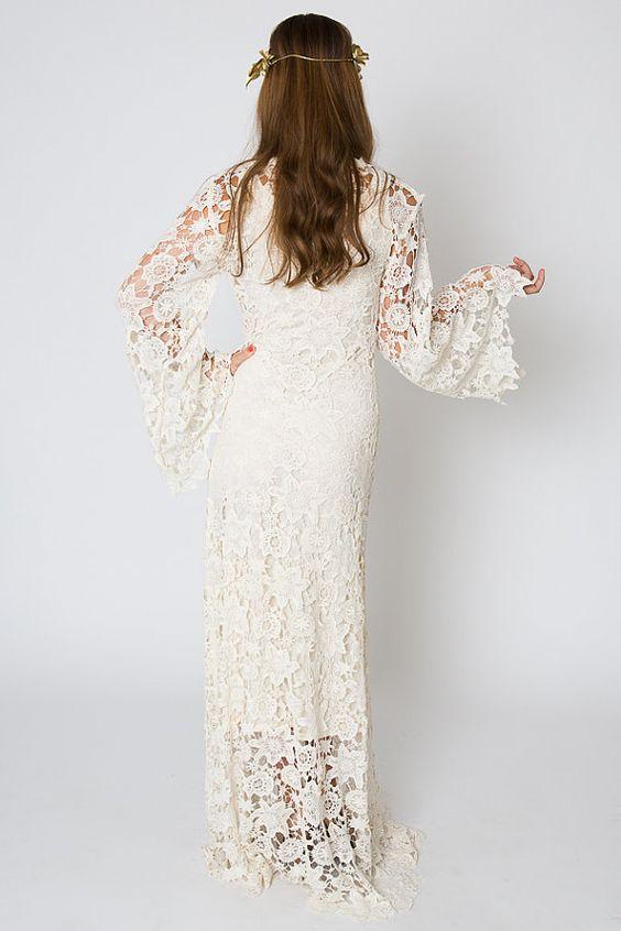 Boho Wedding Dress Lace Wedding Dress Vintage Ivory Lace Wedding Dresses With Bell Sleeves From Misszhu Bridal