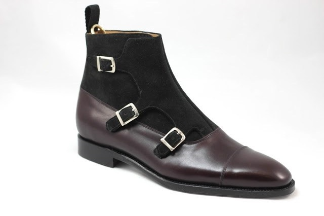 b052fd4beed Handmade Men Triple monk two tone boots, Men ankle leather boots, Mens  fashion boots