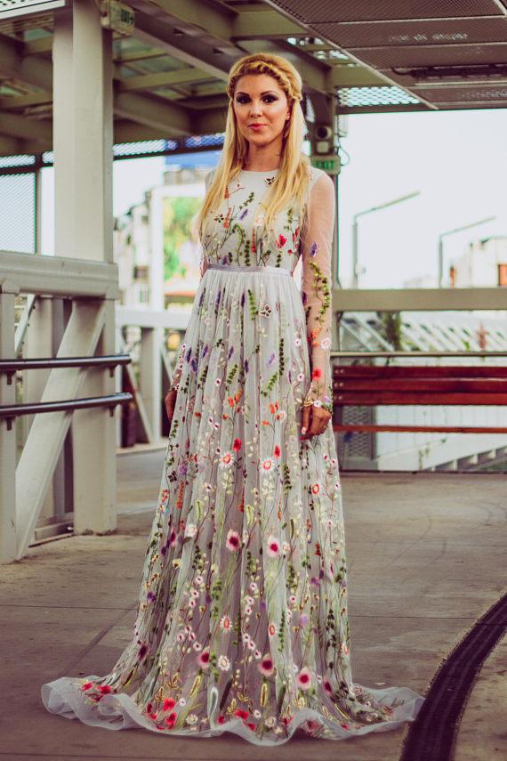 2018 Flower Wedding Dress In Gray, Color Wedding Dress With ... 2018 Flower wedding dress in gray, Color wedding dress with ... Gray Things gray color flowers