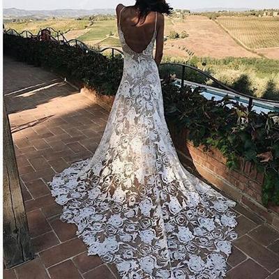 6fc401c0fb Lace boho wedding dress, beach wedding dress, halter backless lace wedding  dress, long