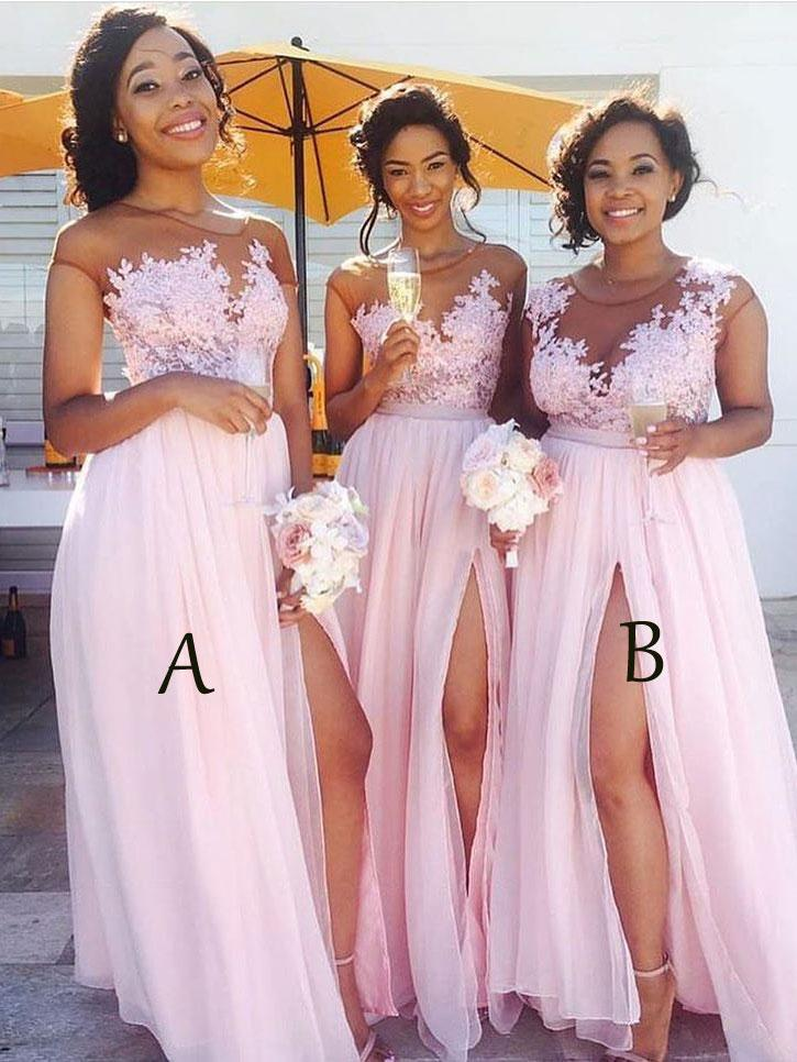 Lace Appliqued Sexy Mismatched Bridesmaid DressesPink