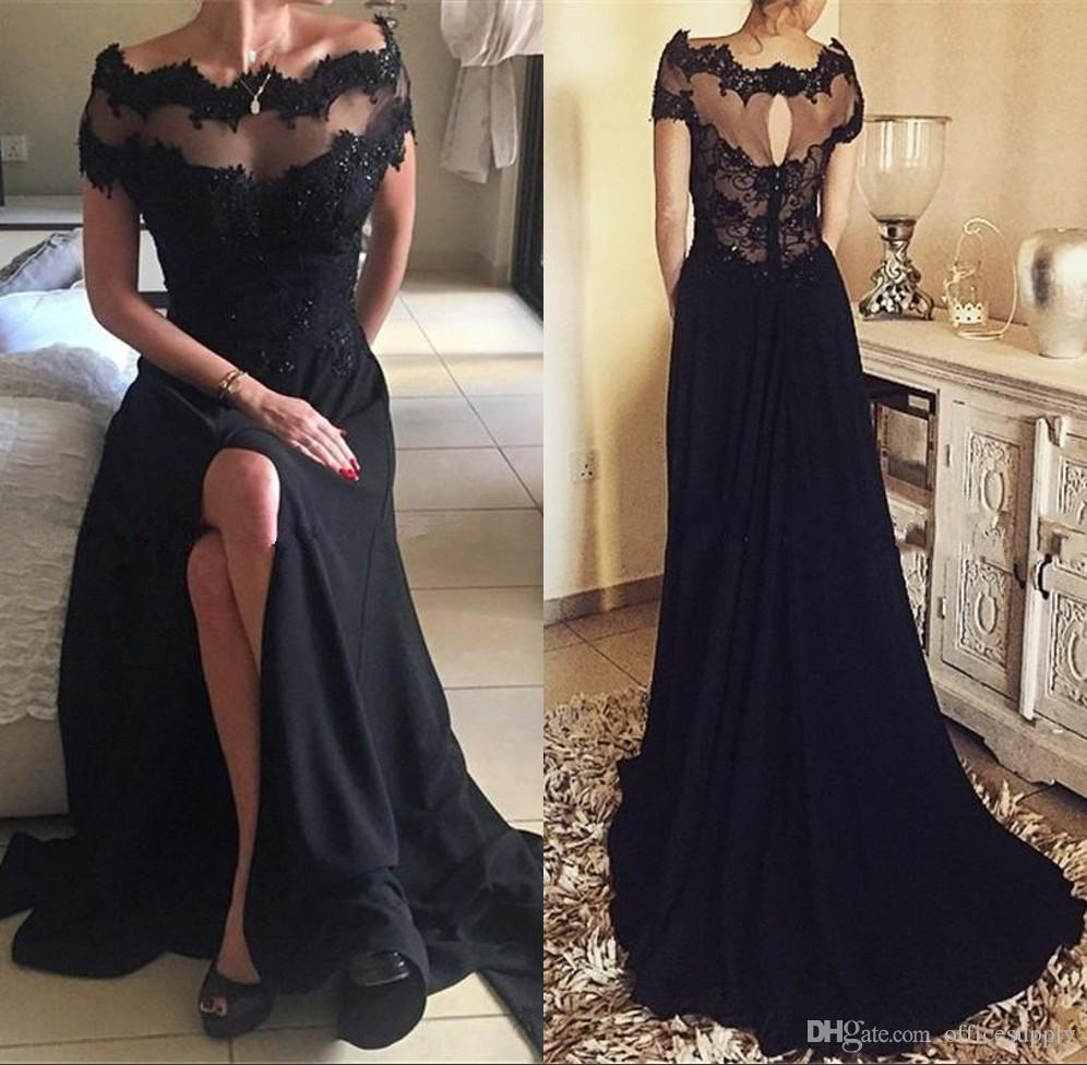 ddfd103b1b Vintage Off Shoulder Lace Prom Dress with Split