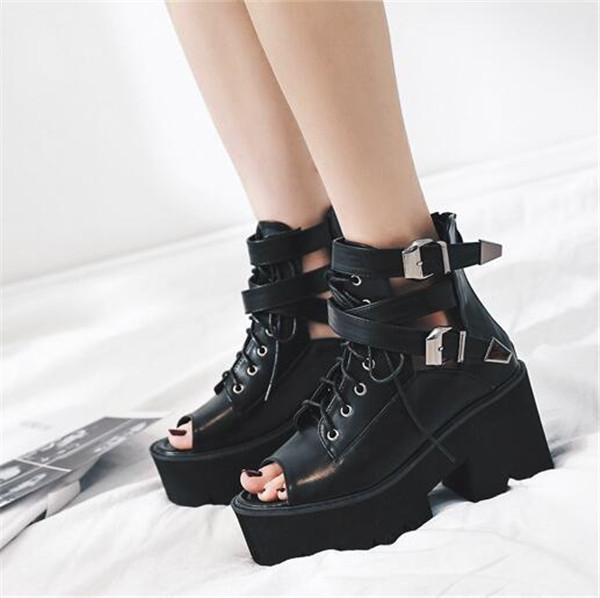 Black Punk Rock Gothic Thick Heel